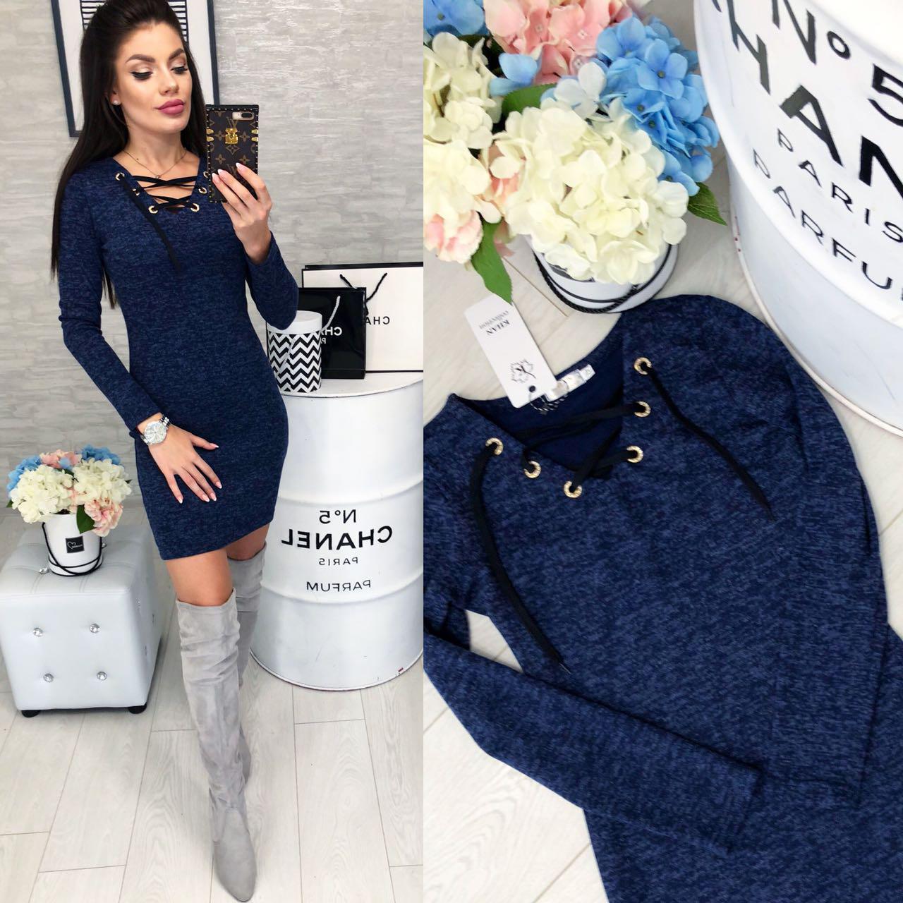 Платье на шнуровке арт. 127 синего цвета