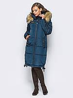 Длинная женская зимняя куртка с мехом на силиконе 90322 4ddd538aa35b1
