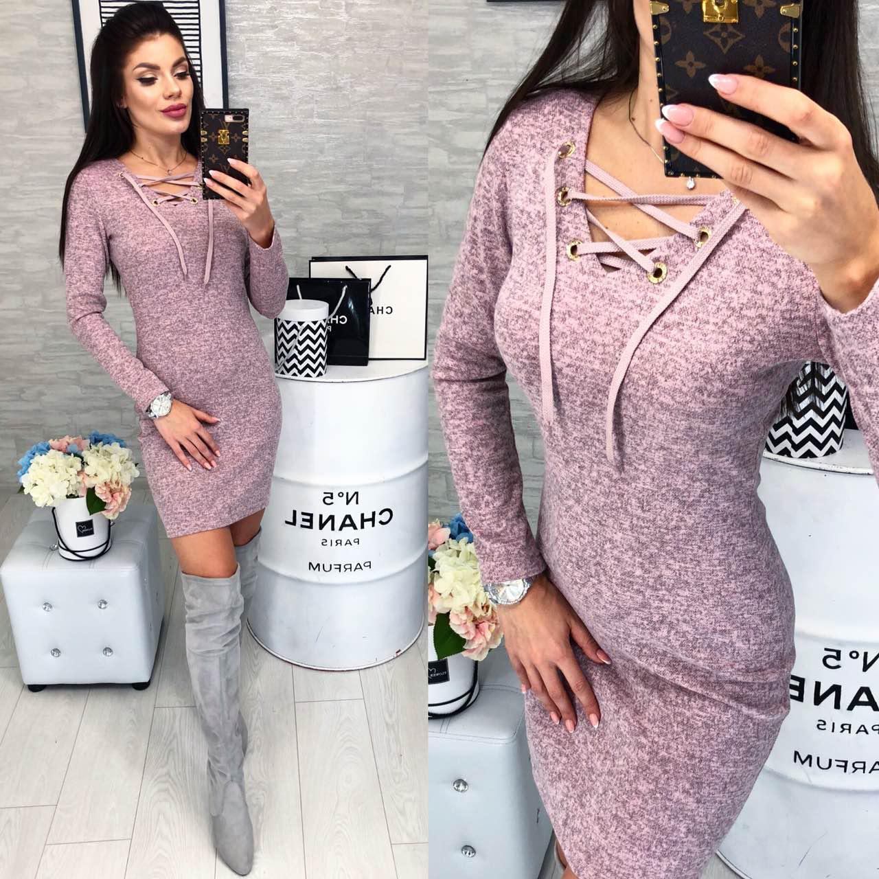 Платье на шнуровке арт. 127 пудра