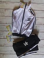 Детский спортивный костюм двунитка Адидас, черно-белый