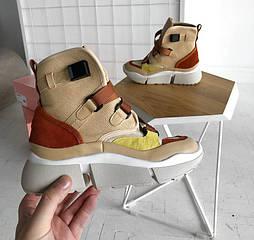 """Женские кроссовки Chloe Sonnie High-top Sneaker """"Beige"""". Живое фото. Реплика ААА+"""