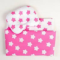 Постельное белье в детскую колыбель BabySoon три предмета Розовые звезды (408)