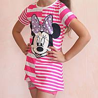 Платье-туника в полоску Минни для девочек размер 98/128 см