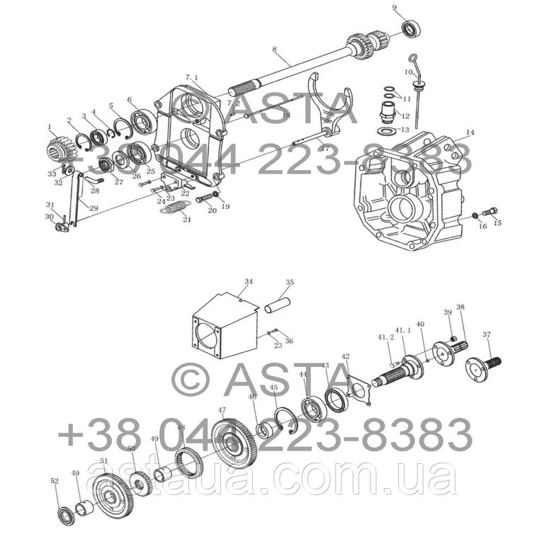 Вал відбору потужності на YTO X1254