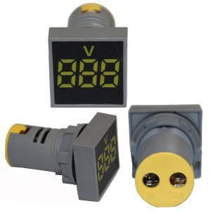 Вольтметр квадратний електронний жовтий