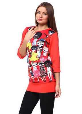 Красное женское платье-туника