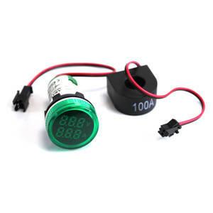 Цифровий вольтметр-амперметр АВаТар 500 В/100 А круглий зелений