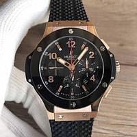 Часы  Big Bang Ceramica Chonograph 44mm Rose Gold 18k/Black. Реплика класс: VIP, фото 1