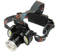 Налобный фонарик BL POLICE С865  Cree T6 + 2 COB, 1600 люмен, 4 режима работы, 2 зарядных устройства 2x1865