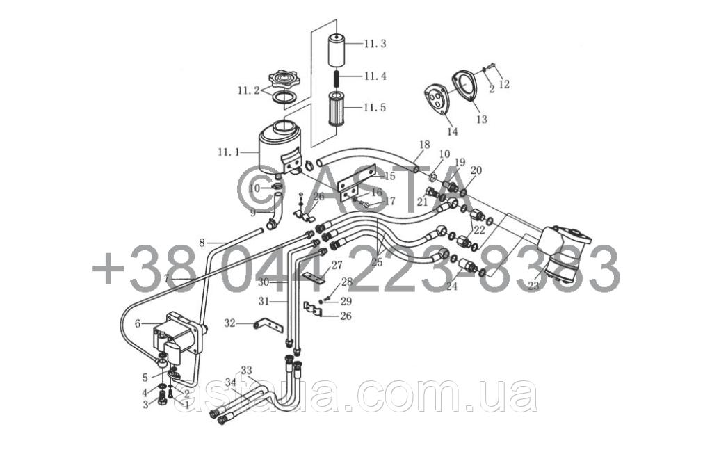Гидравлический механизм рулевого управления на YTO X1254