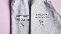 Свитшот серый принт forever in my mind only you  | Кофта стильная ручки лого