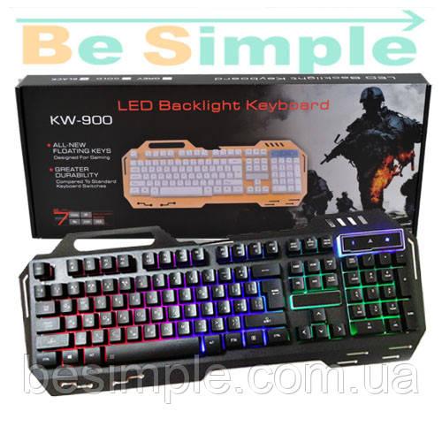 Клавиатура проводная KW-900 с посдветкой