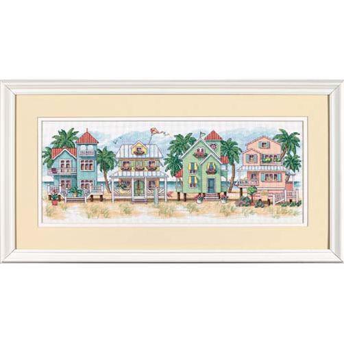 Набор для вышивания крестом Котеджи у моря/Seaside Cottages DIMENSIONS  13726