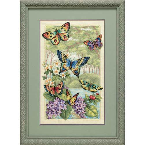Набор для вышивания крестом Бабочки в лесу/Butterfly Forest DIMENSIONS 35223