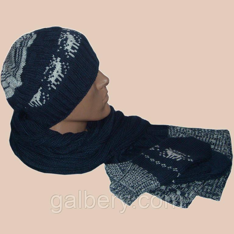 Зимняя шапка носок с орнаментом и шарф с варежками