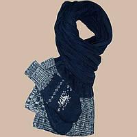 Вязаный шарф-петля и  варежки c норвежскими орнаментами