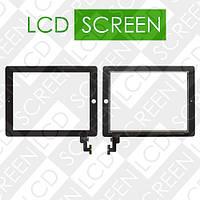 Тачскрин (touch screen, сенсорный экран) для планшета Apple iPad 2, черный, с защитным стеклом