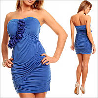 Синее платье без бретелей, короткие женские платья