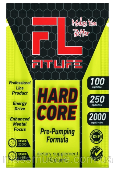 Предтренировочный комплекс FitLife Hardcore 10 г