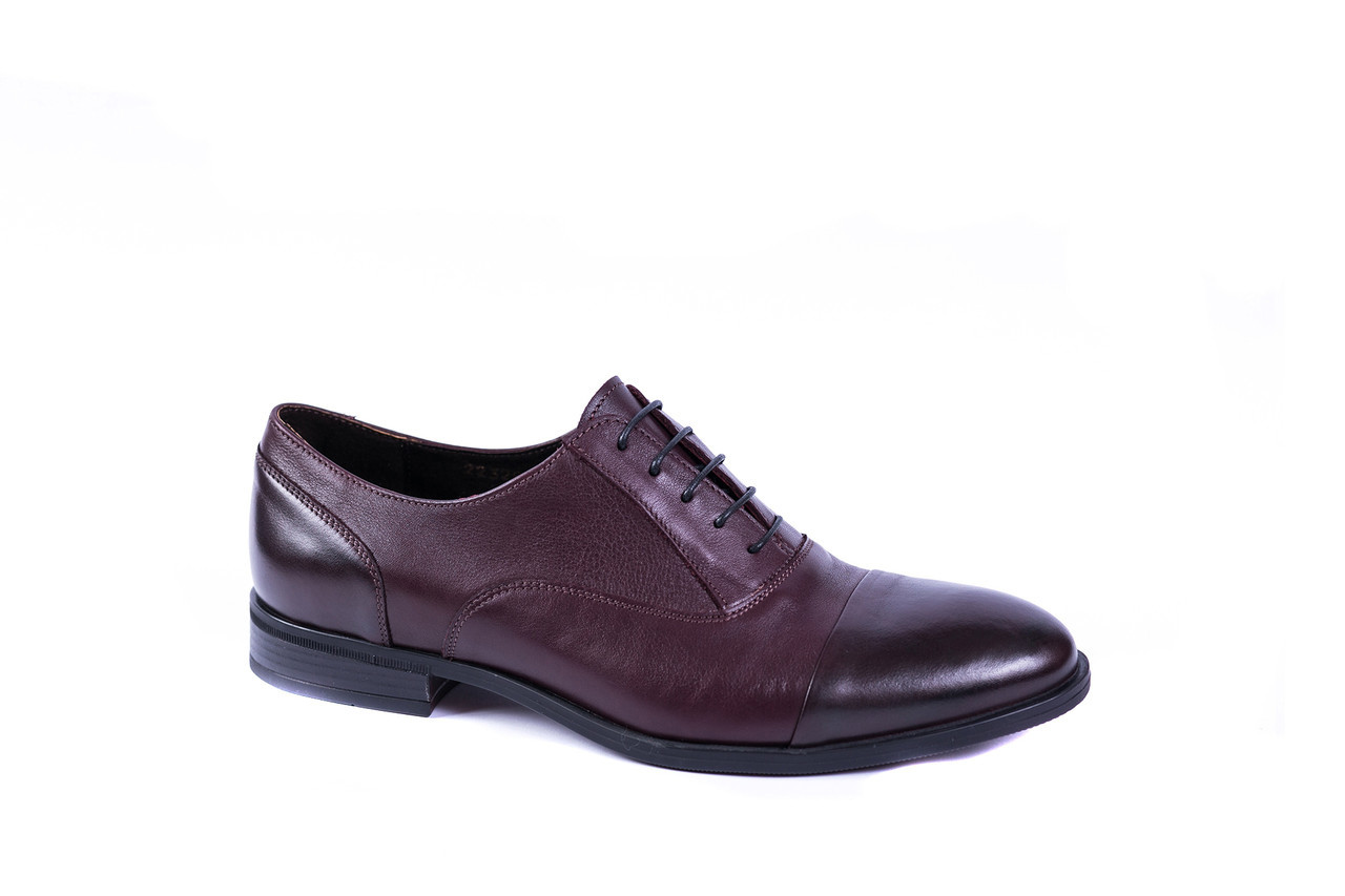 Бордові шкіряні туфлі ІКОС/IKOS - стильне чоловіче взуття! Бордовые туфли!