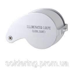 Лупа ювелирная с LED подсветкой 30X увеличение, диаметр 25 мм Magnifier 21011