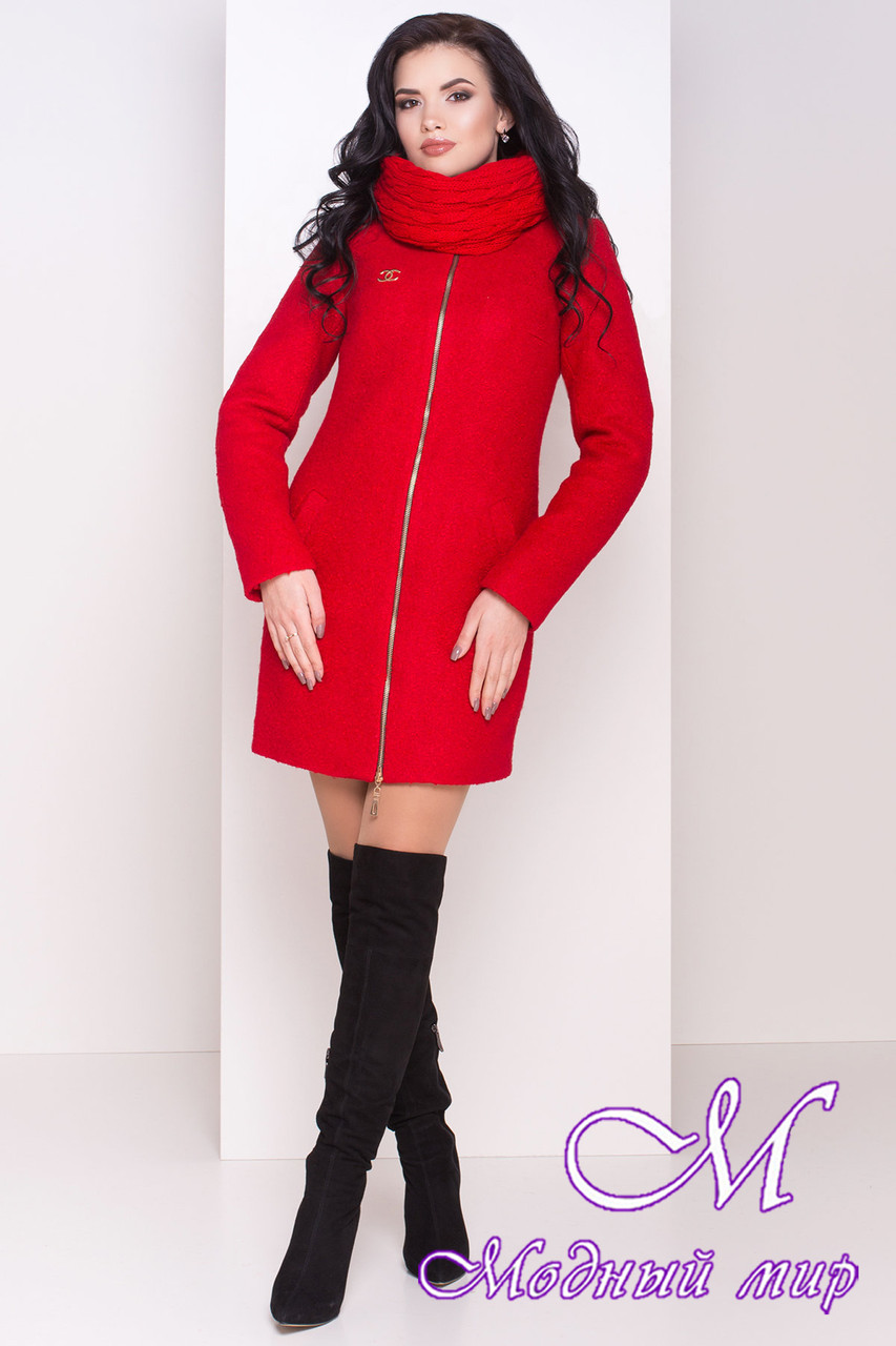 Червоне зимове пальто з хомутом (р. S, М, L) арт. Сан-Ремо лайт букле хомут зима 8303