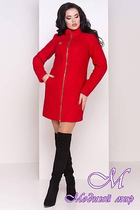 Червоне зимове пальто з хомутом (р. S, М, L) арт. Сан-Ремо лайт букле хомут зима 8303, фото 2