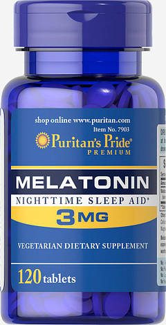 Puritan's Pride Melatonin 3 mg 120 tabs, фото 2