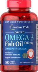 Омега 3 жирные кислоты Puritan's Pride Omega-3 Fish Oil 1000 mg 100 softgels, фото 2