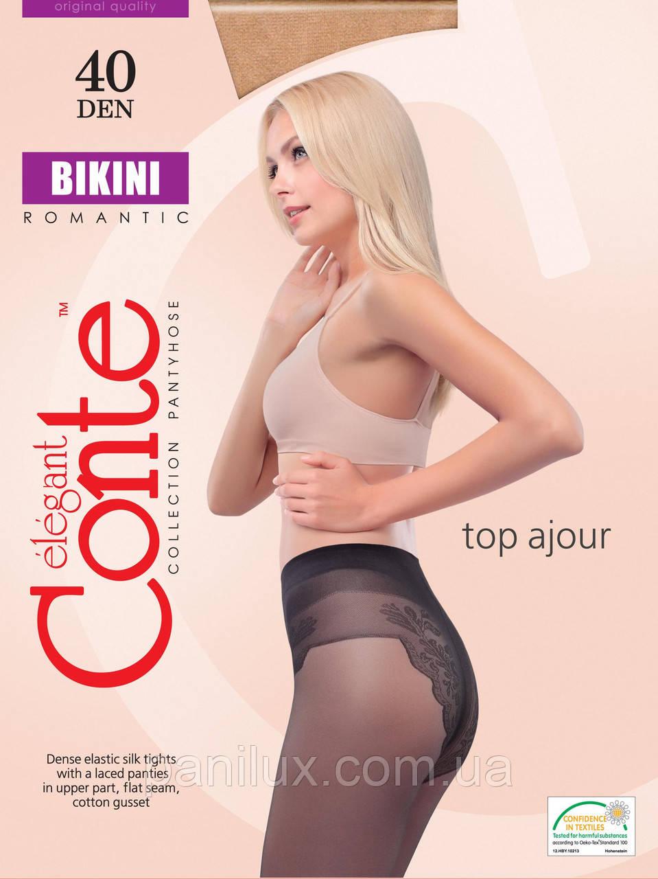 Колготки женские Сonte Bikini с ажурными трусиками 40DEN