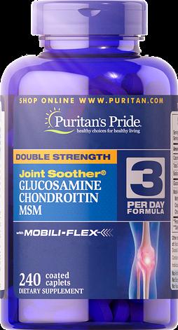 Puritan's PrideDouble Strength Glucosamine, Chondroitin & MSM 240 caplets, фото 2