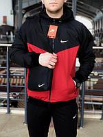 Мужская спортивная черно-красная куртка, ветровка виндранер Nike, фото 1