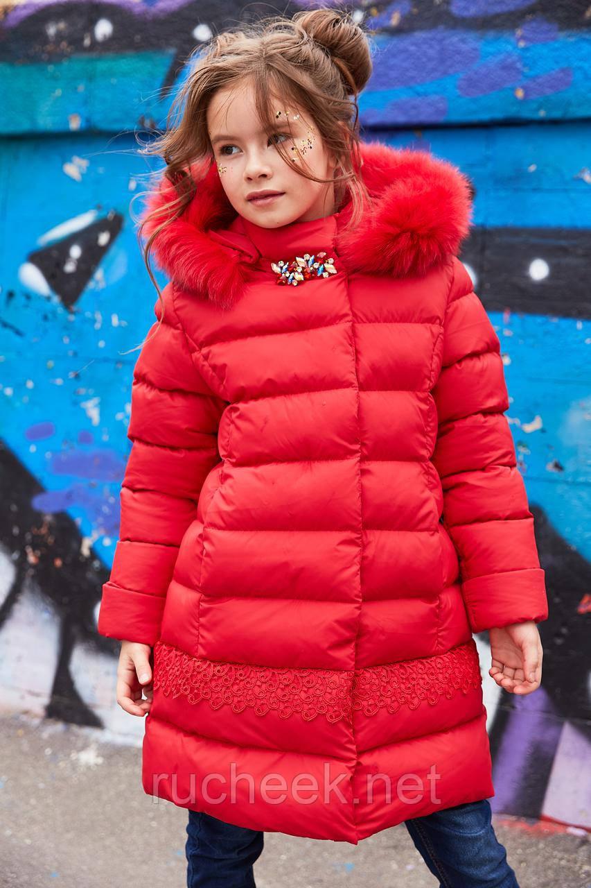 Пуховик для девочки с натральным мехом Деника  новая зимняя коллекция
