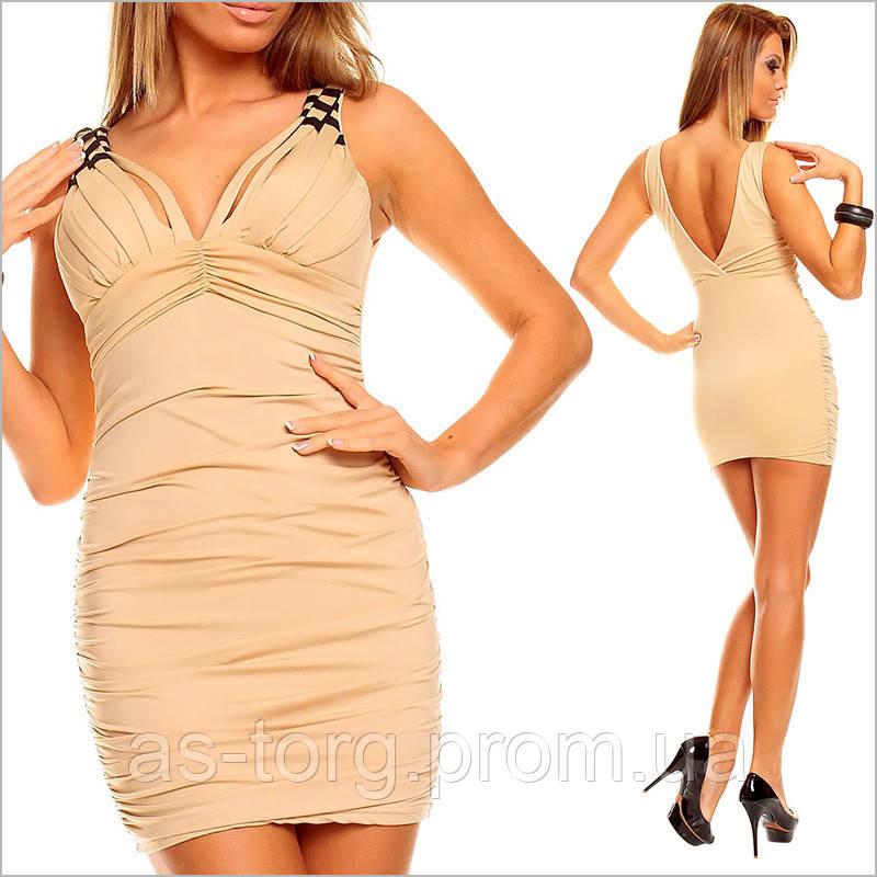 Бежевое Открытое Платье, Платье