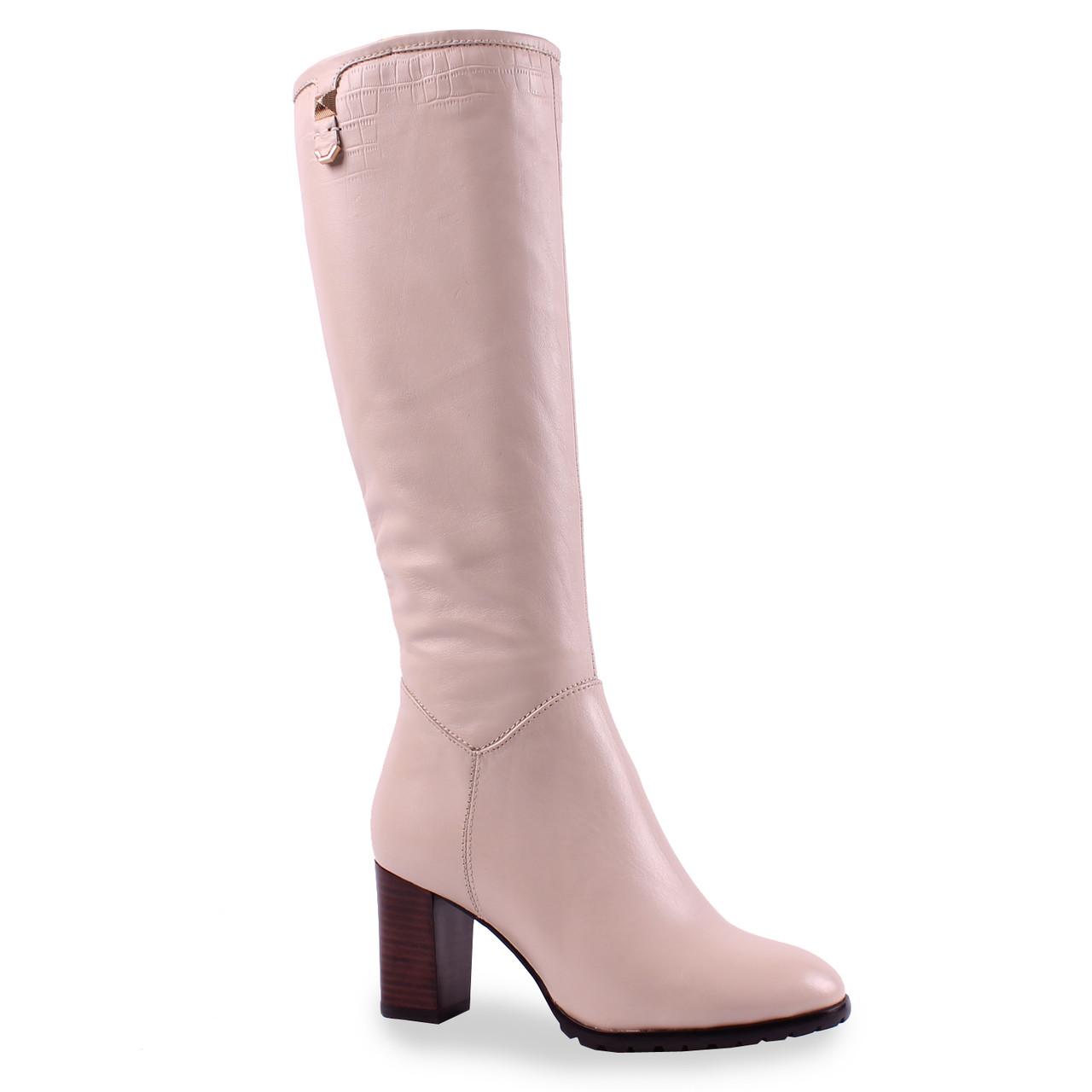 Стильные женские сапоги Dina Fabiani (зимние, на удобном каблуке, светлая кожа, на замке, теплые, красивые)