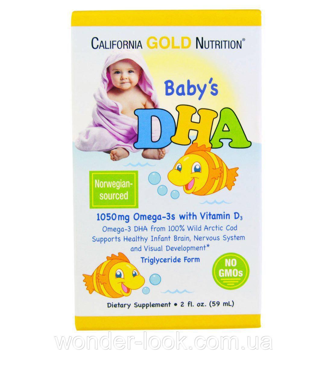 California Gold Nutrition, ДГА для детей, 1050 мг, Жирные кислоты Омега-3 с витамином D3, 2 ж. унц. (59 мл)