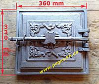 Дверца чугунная (330х360 мм) грубу, печи, мангал, барбекю, фото 1