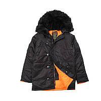 Зимняя мужская куртка Аляска Slim Fit N-3B Черная/оранж.