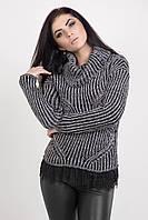 Жіночий в'язаний светр з коміром-хомутом чорний меланж, фото 1