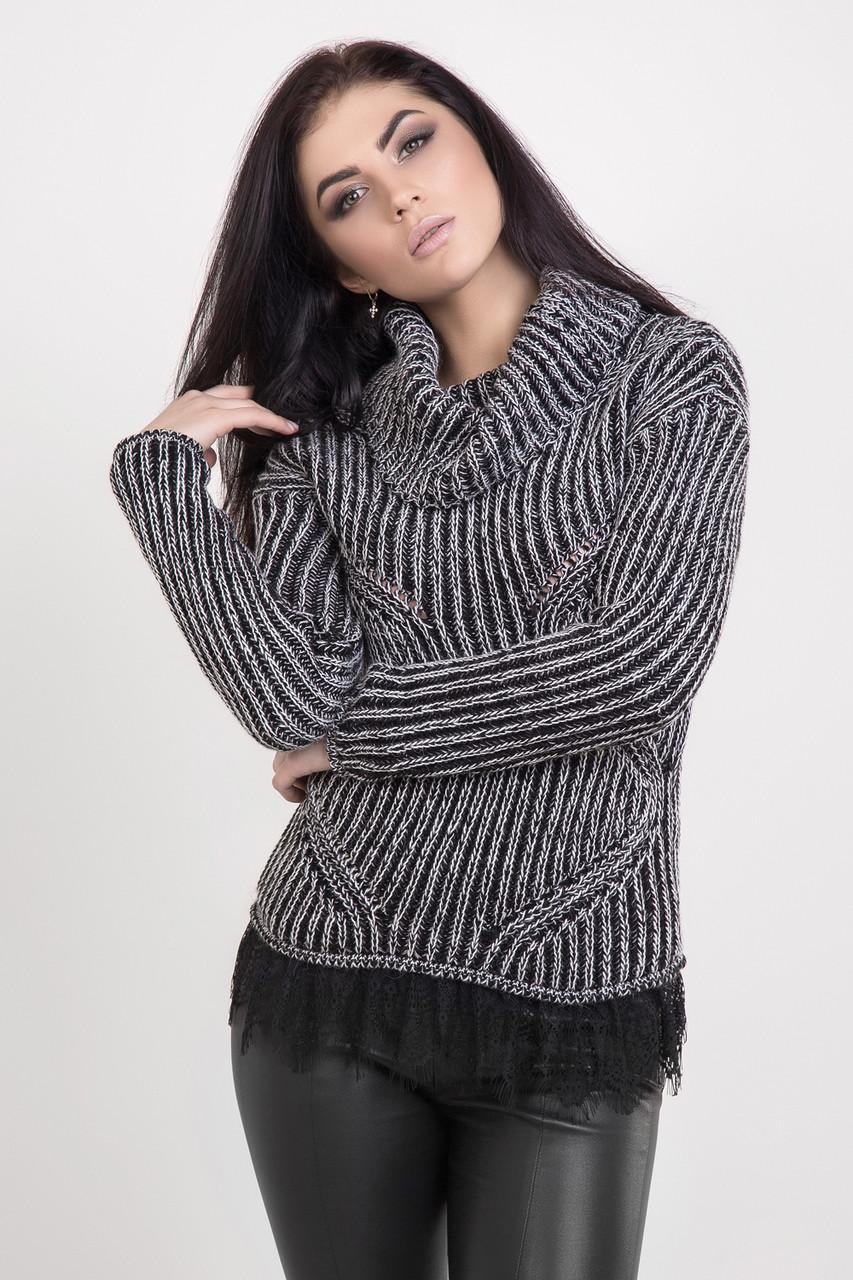 Жіночий в'язаний светр з коміром-хомутом чорний меланж