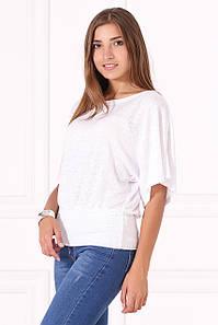 Белая трикотажная блуза-кимоно Erma с коротким рукавом