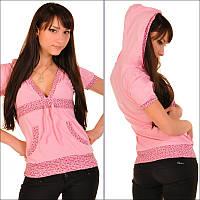 Женская розовая кофта с капюшоном, модная женская одежда