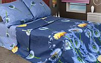 Двоспальне постільна білизна GOLD кульбаби синьому