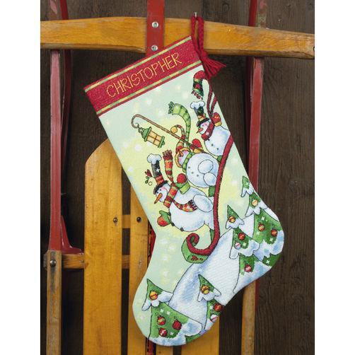 Набор для вышивания крестом Снеговики на санях/Sledding Snowmen Stocking DIMENSIONS 70-08853