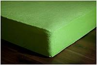 Махрова односпальне простирадло на гумці зеленого кольору