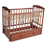 Кроватка детская Наталка с маятником  и ящиком  светлая ( тек)