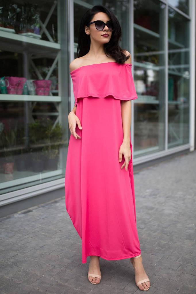 Розовое платье макси ADRIAN с воланом и открытыми плечами