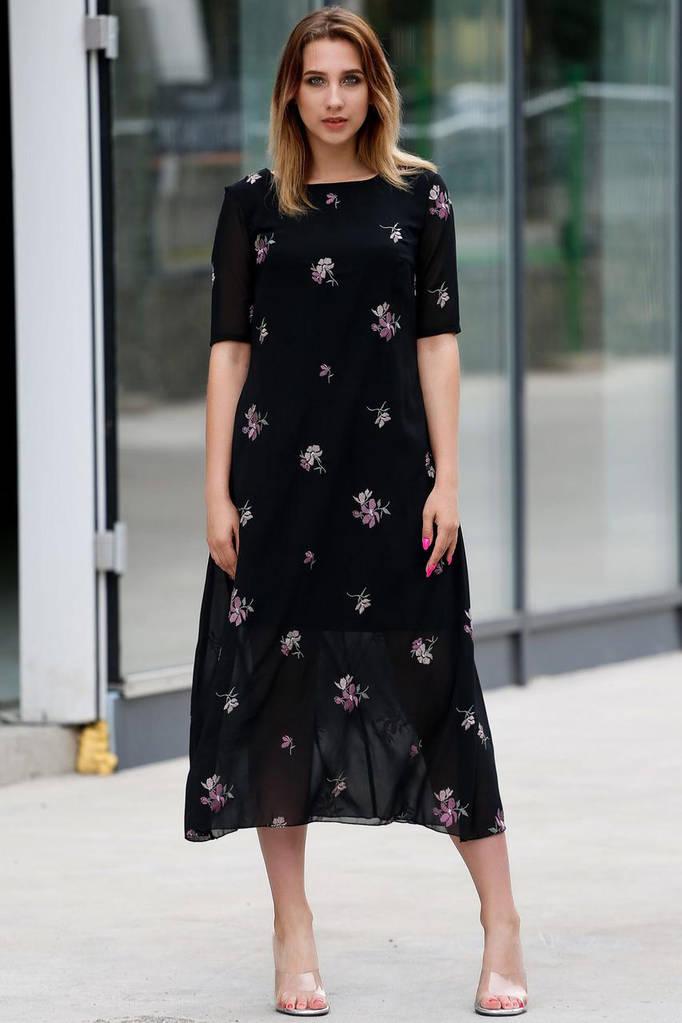 Шифоновое чёрное платье Manola с асимметричным низом в цветы