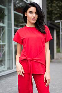 Красная трикотажная блуза ARABELA с декоративным поясом бантом