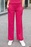 Малиновые трикотажные брюки ARABELA с отворотами и карманами